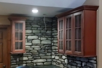 interior stone work kitchen and fireplace