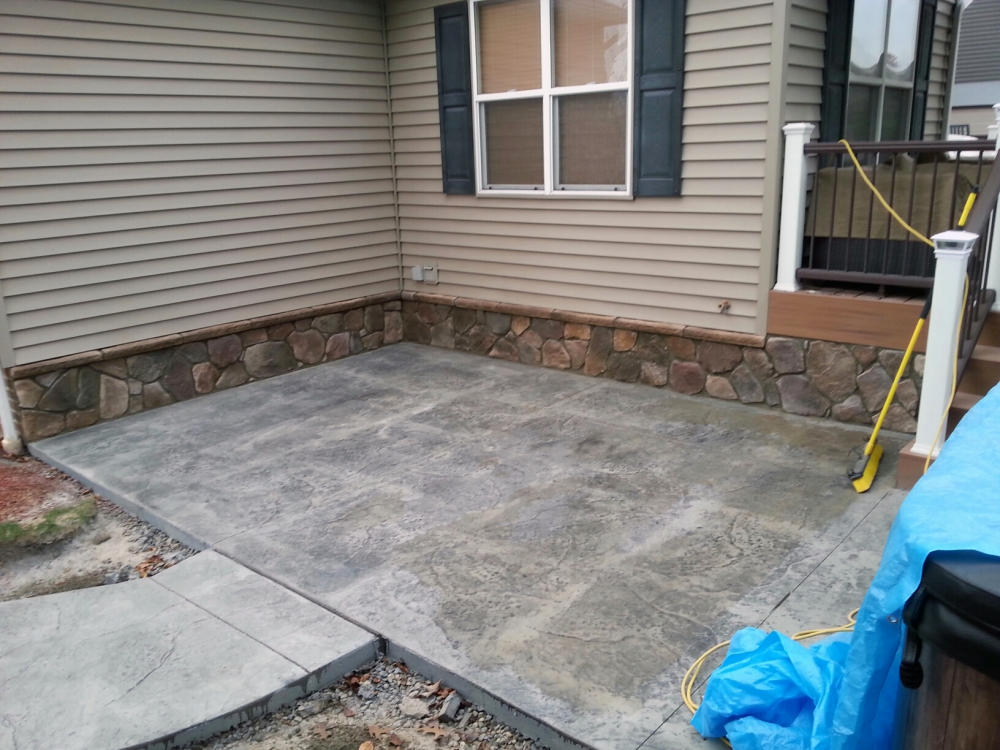 completed patio with stone work