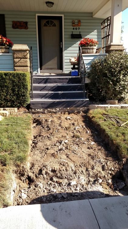 old steps removed
