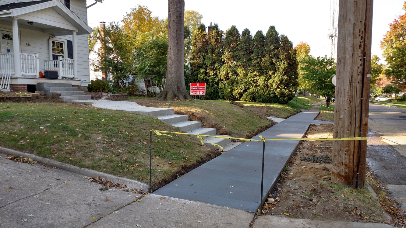new sidewalk along road