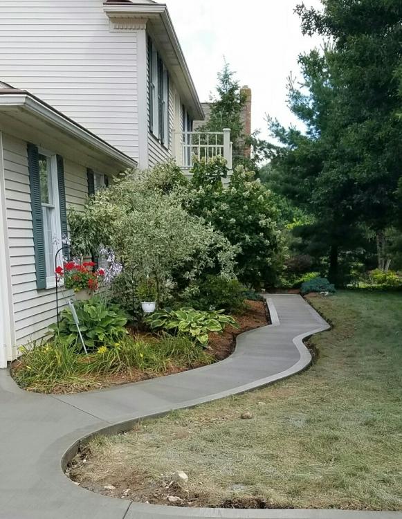 curved sidewalk up close
