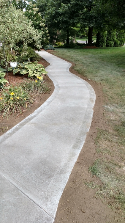 close up of curved sidewalk