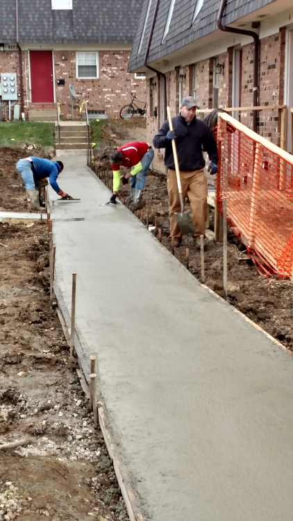 finishing the sidewalk