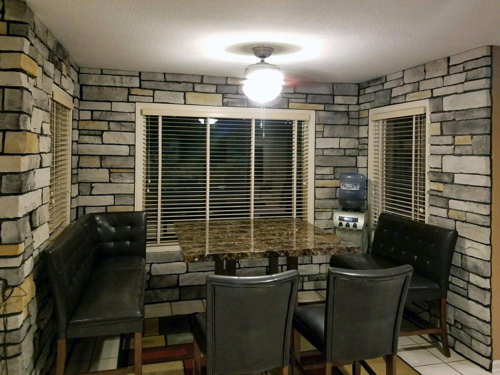 beautiful stone dining area