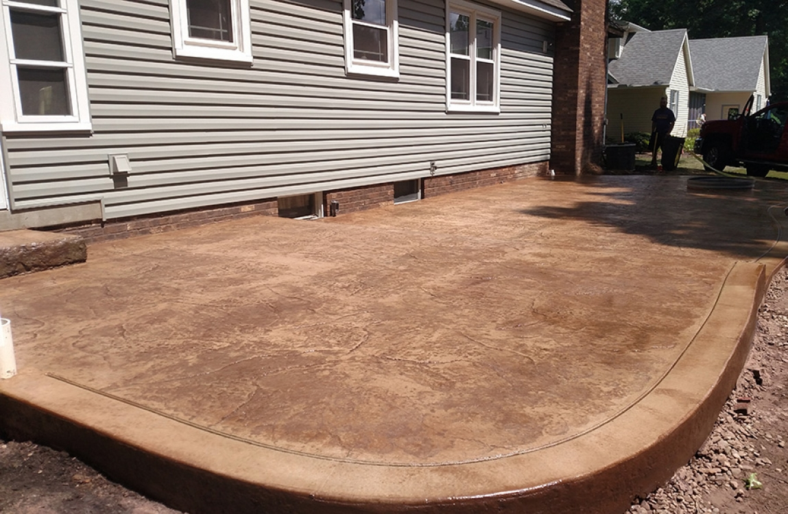 multilevel stamped patio