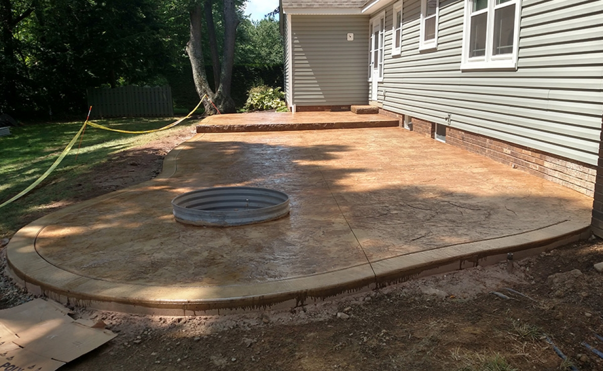 Multi-level stamped patio