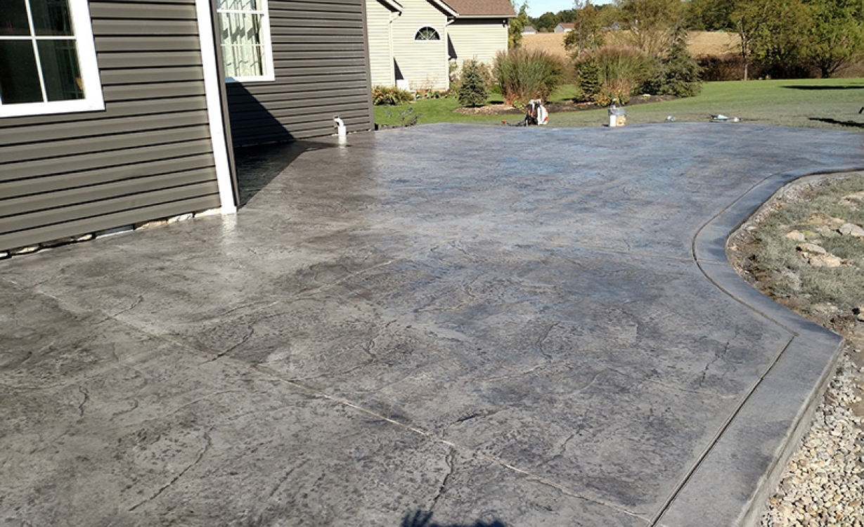 Close up of stamped concrete patio with border