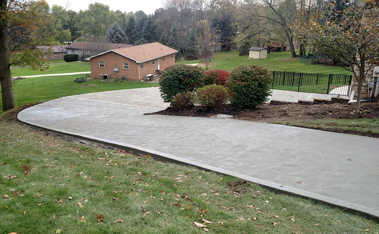curved and sloping driveway