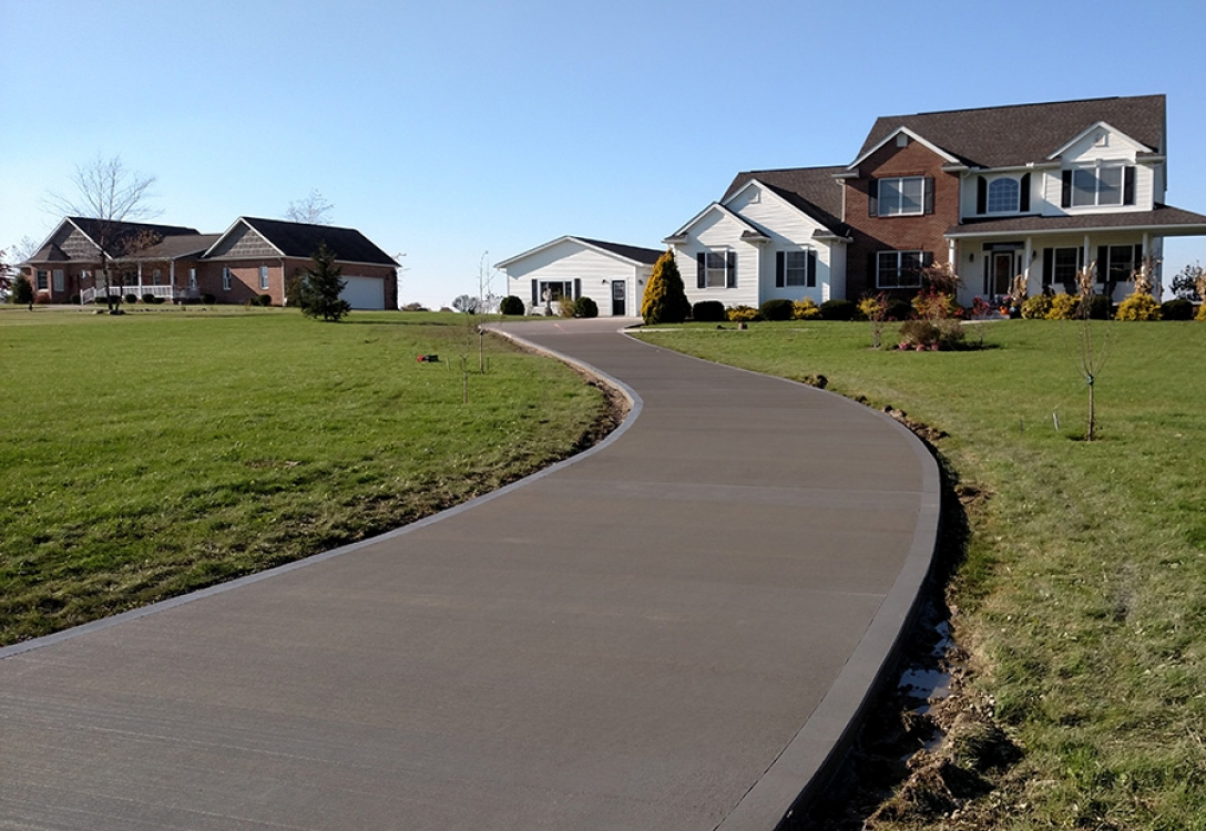 another view of longer curved driveway